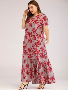 Длинное платье с оборками и цветочным принтом