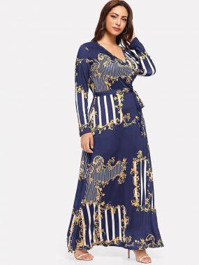 Размера плюс платье с поясом и графическим принтом