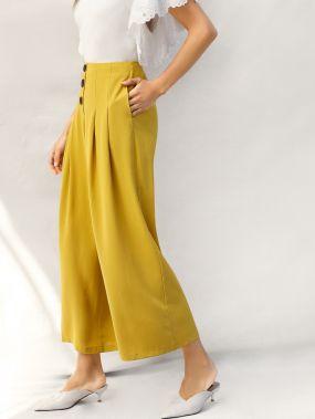 Плиссированные брюки на молнии сзади с широкими штанинами и пуговицей