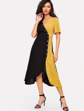 Асимметричное двухцветное платье с запахом