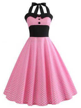 50s контрастное платье-халтер в горошек
