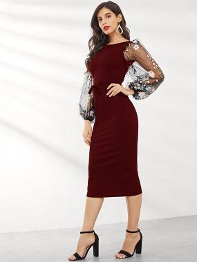 Платье-карандаш с регланом рукавом и сеткой