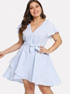 Платье с полосками и сборками