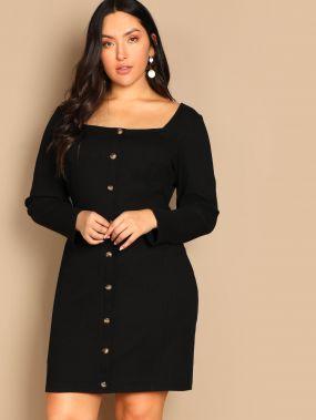 Облегающее платье с пуговицами размера плюс