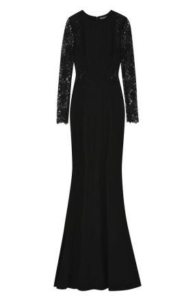 Приталенное платье-макси с кружевными рукавами Alexander McQueen