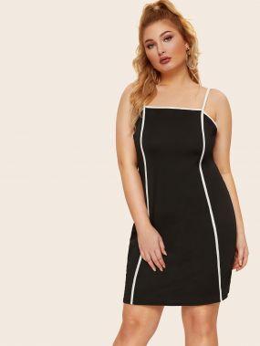 Размера плюс платье на бретелях с контрастной отделкой