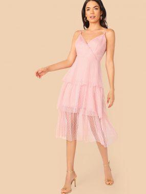 Платье на запах со сеткой