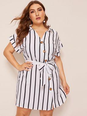 Размер плюс асимметричное платье-рубашка с поясом