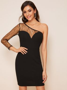 Платье-карандаш со сеткой и одним плечом