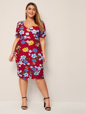 Платье-карандаш с разрезом и цветочным принтом размера плюс