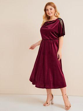 Бархатное платье размера плюс с кружевной вставкой