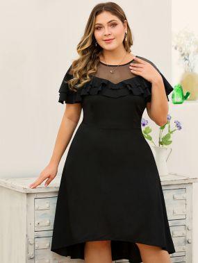 Платье с молнией и оборкой размера плюс