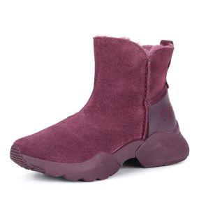 Бордовые ботинки из велюра на утолщенной подошве