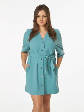 Платье мини мятного цвета на пуговицах