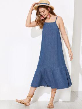 Джинсовое платье с оборкой и узелом