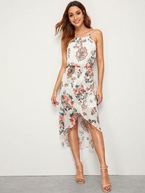 Асимметричное платье-комбинация с цветочным принтом