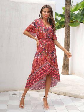 Асимметричное платье-миди с цветочным принтом