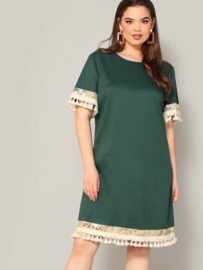 Размера плюс платье с пайетками и бахромой
