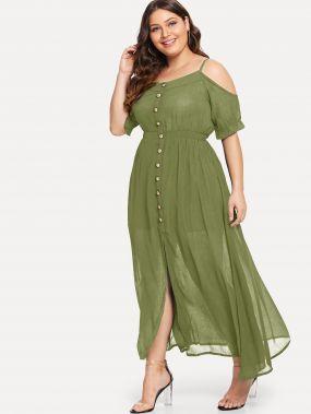 Однобортное платье с открытыми плечами размера плюс