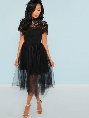 Нарядное Платье С Пышной Юбкой И Кружевным Лифом