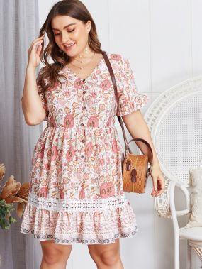 Размер плюс платье с цветочным принтом и контрастным кружевом