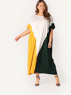 Размер плюс контрастное платье