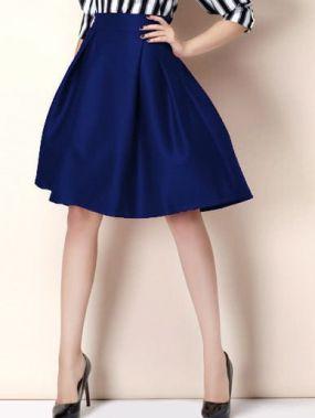 Синяя клеш юбка на молнии