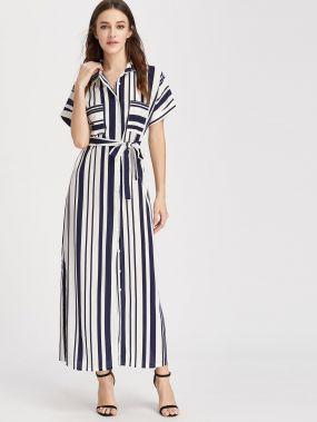 Модное платье-рубашка в полоску с поясом