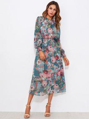 Нарядное макси платье с цветочным принтом