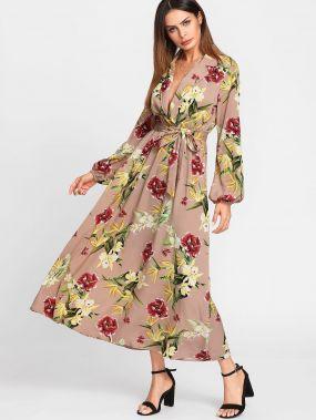 Модное платье с запахом и цветочным принтом, рукав-фонарик
