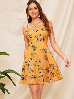 Платье на бретелях с кулиской и цветочным принтом