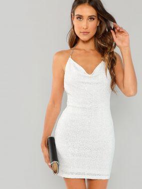 Платье С Блестками И Открытой Спиной