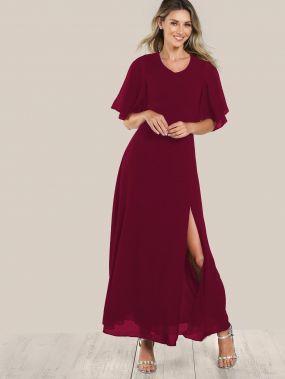 Платье с открытой спиной и рукав-фонариками