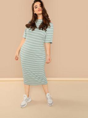 Плюс размеры вязанное платье в полоску