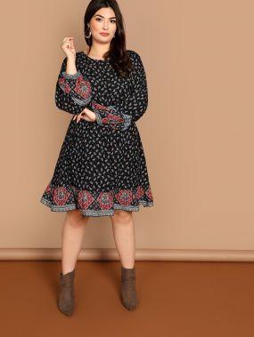 Плюс размера платье с принтом Пейсли