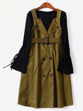 Плюс размеры платье с поясом и свитер на шнуровке сбоку