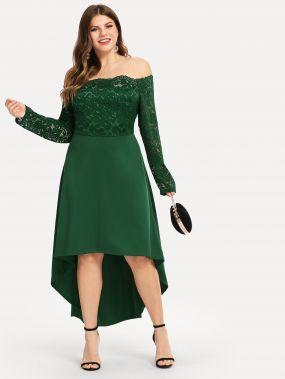 Плюс размеры кружевное платье с веерообразной отделкой