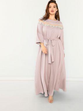 Вставки сетки платье с аппликацией размера плюс