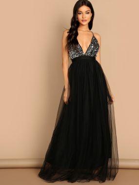 Сетчатое платье-халтер с блестками и открытой спиной