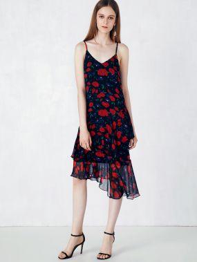 Асимметричное платье на бретелях с цветочным принтом