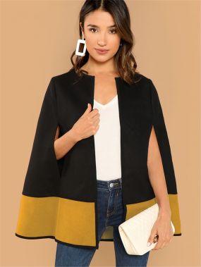 Двухцветное открытое пальто пончо