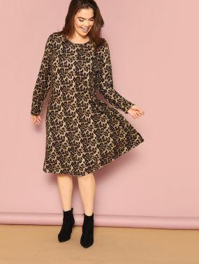Размера плюс леопардовое бархатное длинное платье