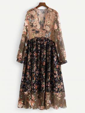 Женственное Комбинированное Платье Миди С Цветочным Принтом