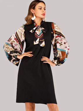 Чёрные с бантом Цветочный принт Элегантный стиль Платья