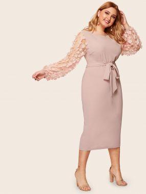 Размера плюс платье карандаш с поясом сетчатым рукавом и 3D вставкой