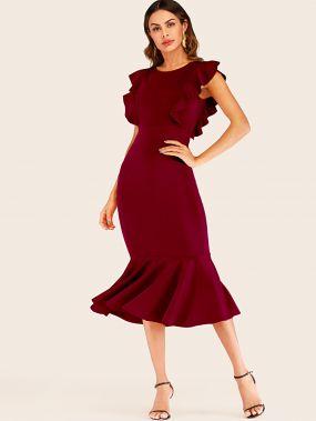 Платье-русалка с оборками и молнией сзади