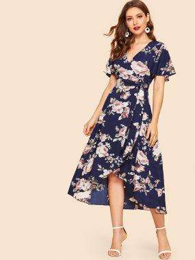 50s асимметричное платье с поясом и цветочным принтом