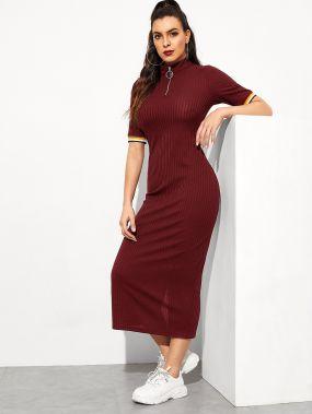 Трикотажное платье-карандаш с полосками и укороченной молнией