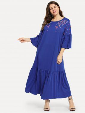 Плюс размеры платье с цветочным принтом с оборками