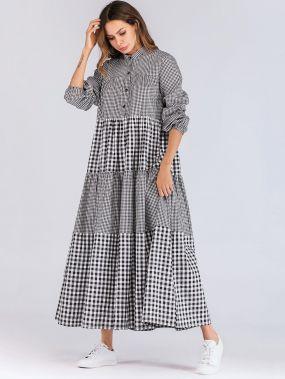 Длинное контрастное платье-рубашки в клетку